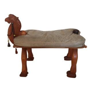 1970s Vintage Carved Wood Camel Saddle Ottoman For Sale