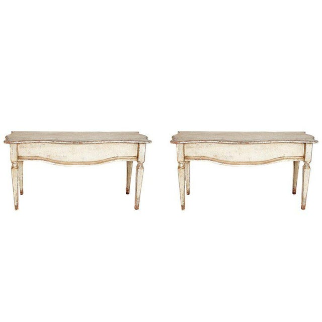 Pair of French Painted and Gilt Console Tables For Sale - Image 9 of 9