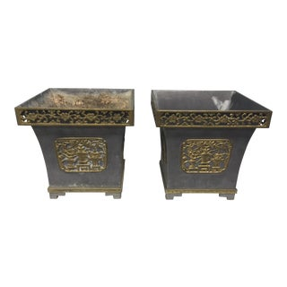 20th Century Chinoiserie Metal and Brass Planters - a Pair For Sale