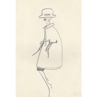 Matted Mid-Century French Haute Couture Vintage Fashion Drawing-C1960 For Sale