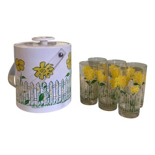 Retro Floral Ice Bucket & Glasses For Sale