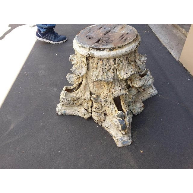 Antique Iron and Wood Corinthium Column Base For Sale - Image 10 of 11