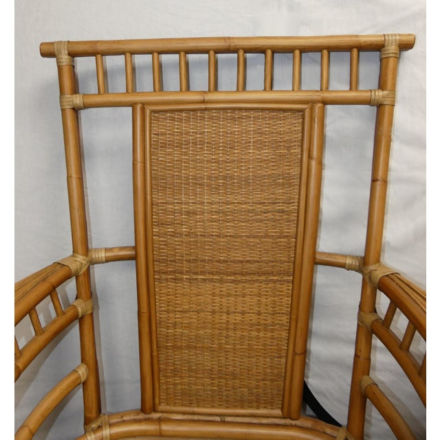 Coastal Creations Rattan Armchairs With High-End Embroidered Crewel Cushions- a Pair For Sale - Image 4 of 11