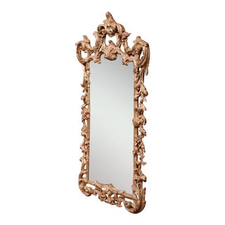 Mid-Century Italian Carved Wood Silver Leaf Mirror With Antiqued Mirror For Sale
