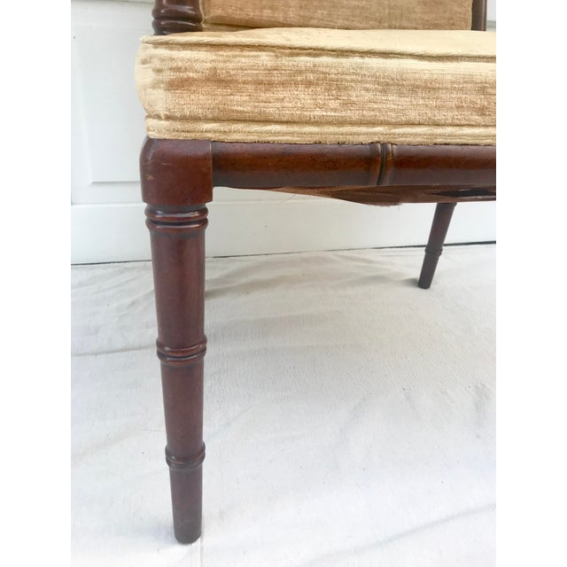 Faux Bamboo 1960s Traditional Hickory Mahogany Faux Bamboo Chair For Sale - Image 7 of 8