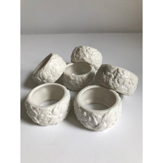 Ceramic Vintage White Ceramic Napkin Rings - Set of 6 For Sale - Image 7 of 7