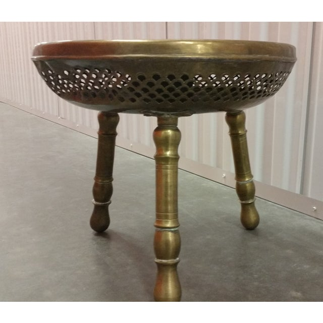 Authentic Antique Brass Moroccan Brazier Stool - Image 3 of 9