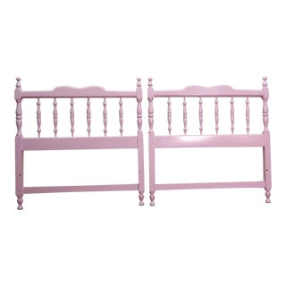 20th Century Colonial Turned Wood Twin Headboards - a Pair For Sale