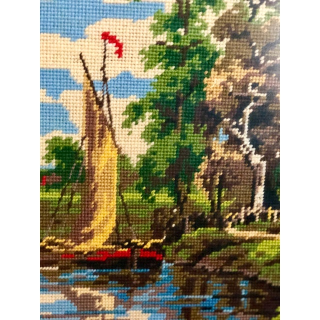 Vintage Needlepoint Tapestry of an English Landscape For Sale - Image 4 of 9