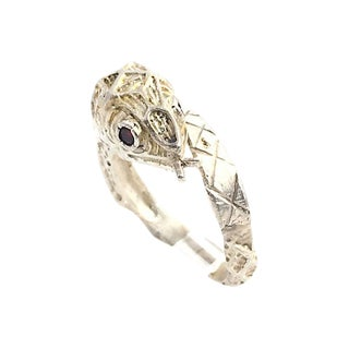 Etched Sterling & Garnet Snake Ring For Sale