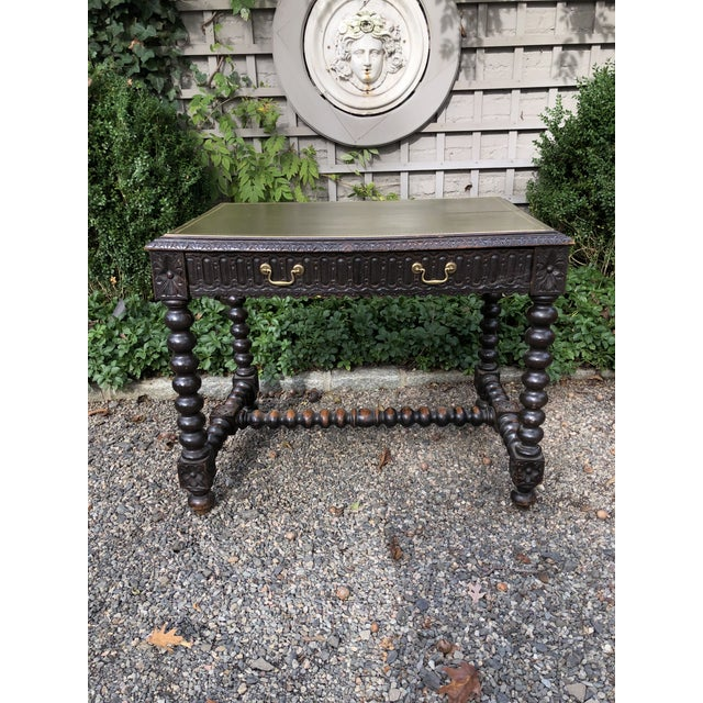 Early 20th Century Baroque Style Relief-Carved Writing Desk For Sale - Image 12 of 13