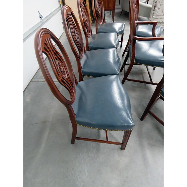 Blue Set of 8 Georgian Style Dining Room Chairs For Sale - Image 8 of 12