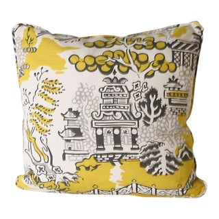 Pair of Thibaut Design Luzon Print Grey and Lemon Pillows For Sale