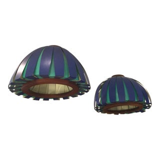 Danish Aluminum and Wood Hanging Lights For Sale