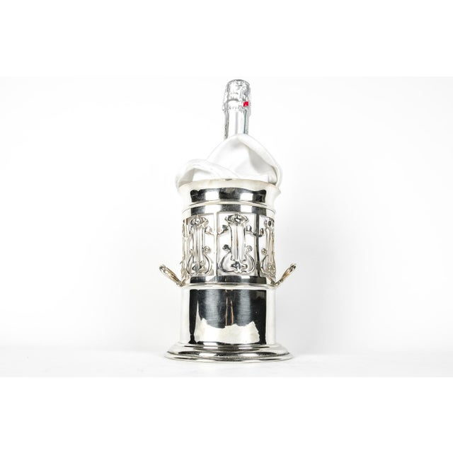 Antique English Sheffield silver-plate wine caddy / Drinks Bottle holder. The Caddy measure 7.3 inches High X 7 inches.