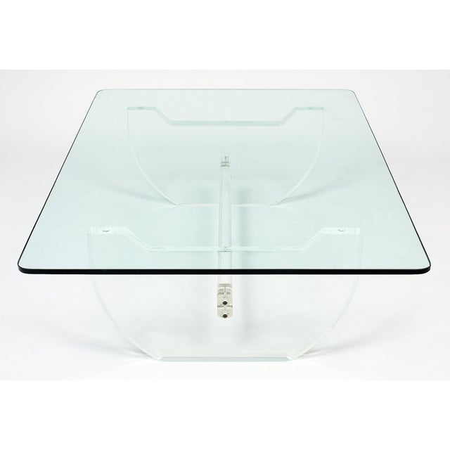 Glass French Modernist Lucite Coffee Table For Sale - Image 7 of 10