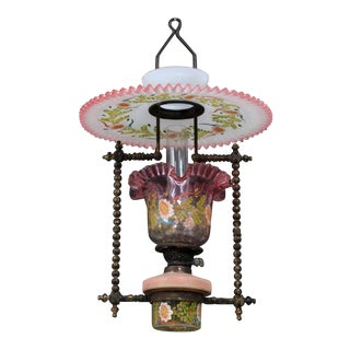 Pink and Milk Glass with Floral Details Victorian Hanging Oil Lamp Antique Chandelier For Sale