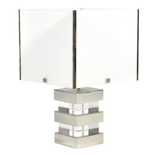 Lucite and Chrome 1970s Table Lamp For Sale