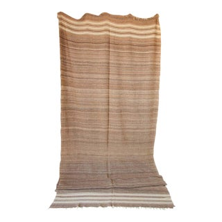 Moroccan Vintage Flat-Weave Brown Tribal Organic Textile For Sale