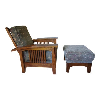 Flexsteel Mission Arts & Crafts Style Oak Chair and Ottoman Set For Sale