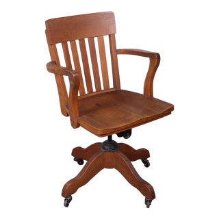 Oak Swivel Office Chair For Sale