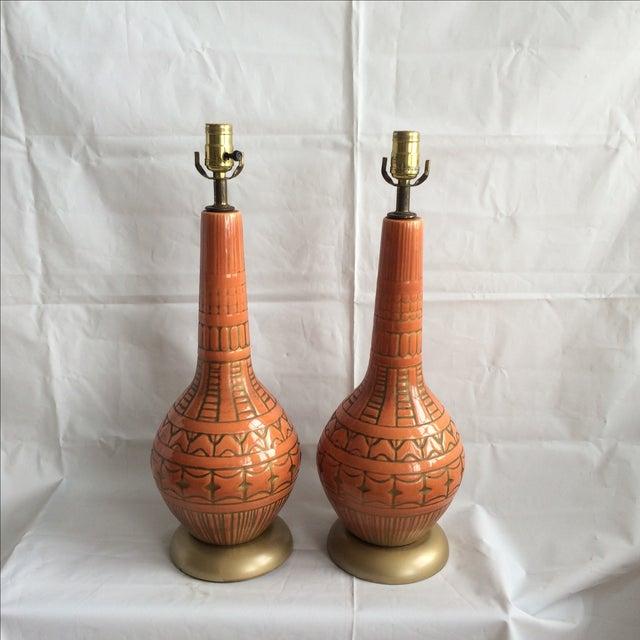Mid Century Glazed Lamps - Pair - Image 2 of 6