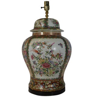 Vintage Porcelain Lamp with Hand-Painted Flowers and Birds from 1970s, China For Sale