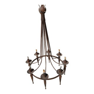 1970s Spanish Distressed Iron Chandelier For Sale