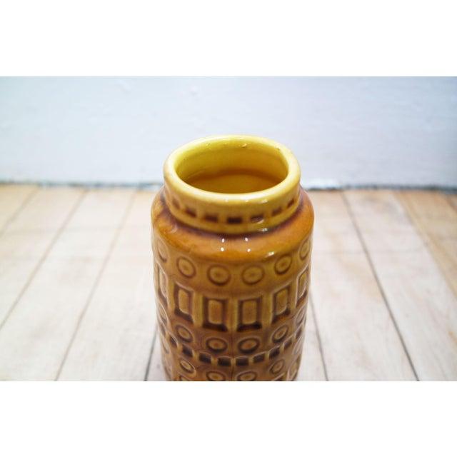 Scheurich Keramik 1960s Mid-Century West German Scheurich Keramik Inka Mustard Ceramic Vase For Sale - Image 4 of 8