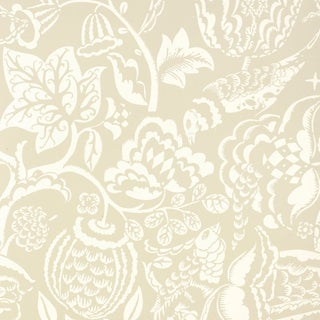 Sample - Schumacher Uccello Wallpaper in Stone For Sale