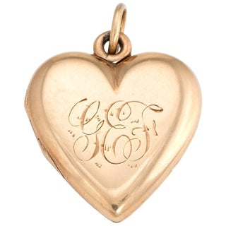 Antique Victorian Heart Locket C1899 Pendant 14k Rose Gold Hair Jewelry Initials For Sale