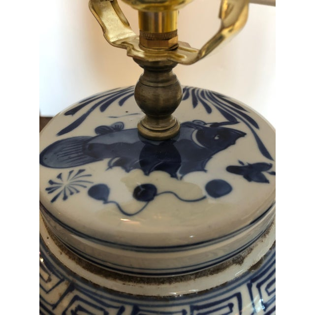 Classic Blue and White Canton Style Ginger Jar Lamps With Carp-A Pair For Sale - Image 9 of 11