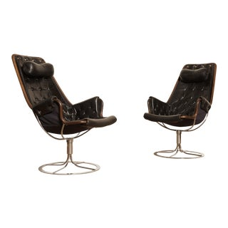 Pair of Leather Jetson Chairs by Bruno Mathsson for Dux, Sweden, 1960s-1970s For Sale