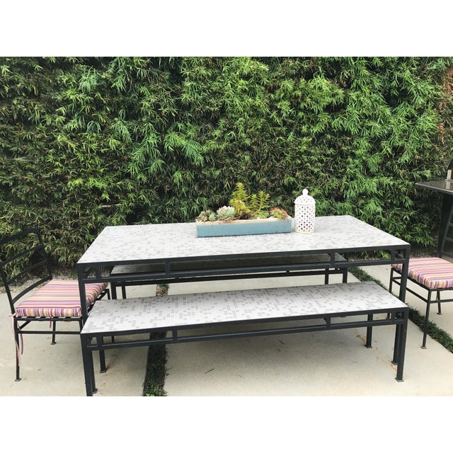 Iron & Mosaic Tile Dining Set - Set of 5 - Image 6 of 11