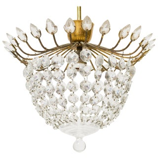 Petit Crystal and Brass Semi-Flush Mount Light Fixture For Sale