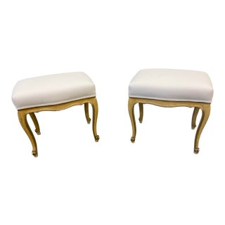 Pair of Italian Upholstered Footstools - 19th C For Sale