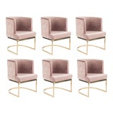 Image of Modern Blush Velvet & Gold Circular Accent Chairs - Set of 6 For Sale