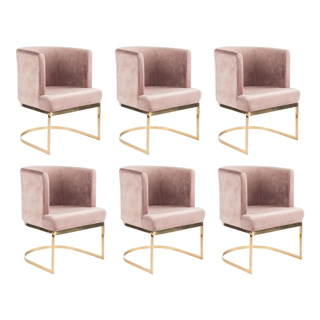 Modern Blush Velvet & Gold Circular Accent Chairs - Set of 6 For Sale