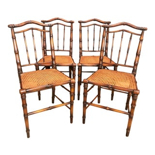 Vintage Faux Bamboo and Cane Chairs- Set of 4 For Sale