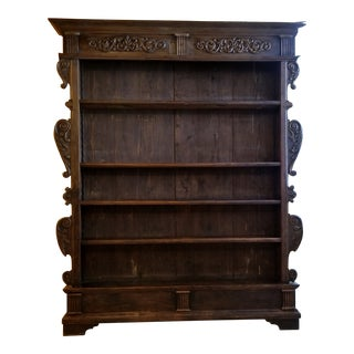 19th Century Carved European Provincial Narrow Bookcase For Sale