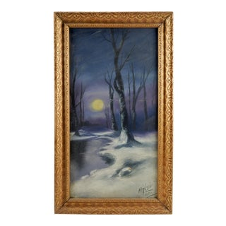 "Circa 1920 ""Moonlight in Winter"" Oil Painting"