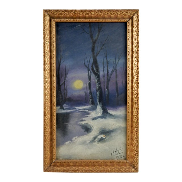 "Circa 1920 ""Moonlight in Winter"" Oil Painting For Sale"