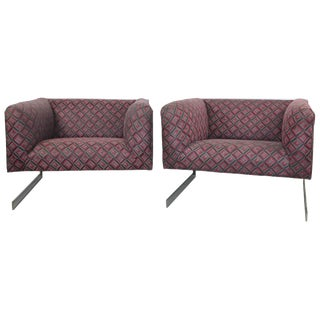 1970s Milo Baughman Cantilever Lounge Chairs- A Pair For Sale