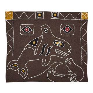 Nw Coastal Native Button Blanket W/ Hunting Orca and Seal Motif Circa 1950s