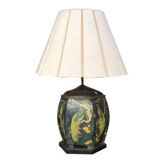 Chinoiserie Hexagonal Tin Tea Caddy Lamp With Linen Shade For Sale