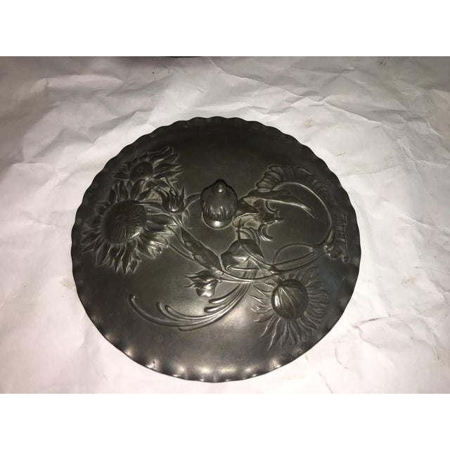 Vintage Art Nouveau Floral Pewter Dish For Sale - Image 4 of 8