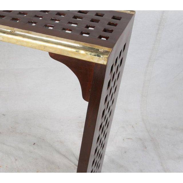 Ship's Nautical Teak Decking Converted to Console Table With Brass Border For Sale - Image 9 of 10