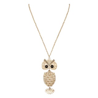 70's Sarah Coventry Owl Pendant Necklace For Sale