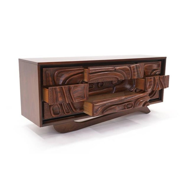 Mid-Century Modern Witco Carved Front Walnut Cabinet / Credenza in the Style of Philip Lloyd Powell For Sale - Image 3 of 10