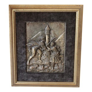Antique Repousse Shepherd Scene Plaque For Sale
